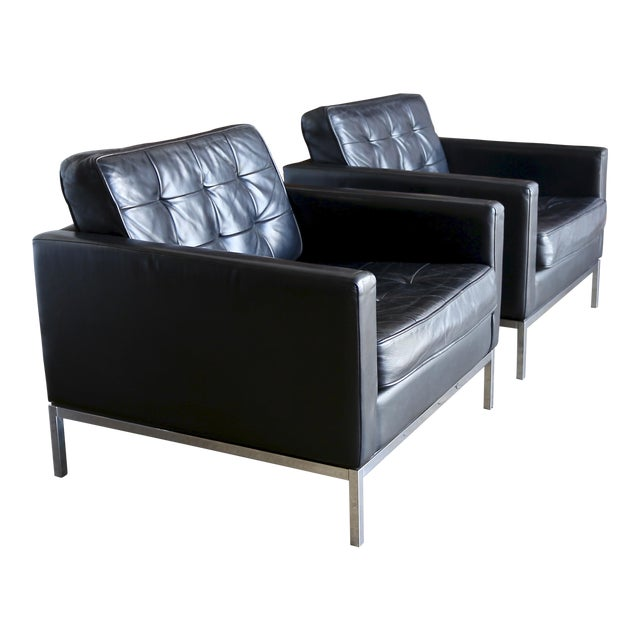 Mid Century Florence Knoll Leather Lounge Chairs - a Pair For Sale