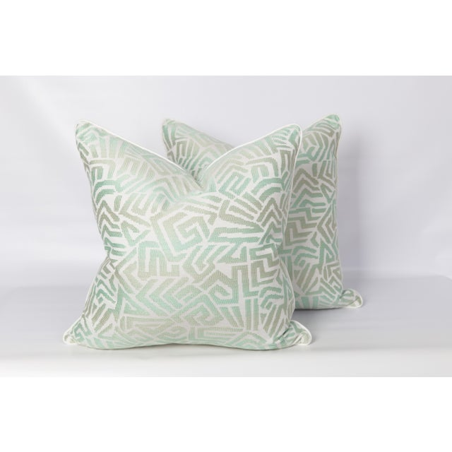 Tribal Seafoam Geometric Pillows, a Pair For Sale - Image 4 of 5
