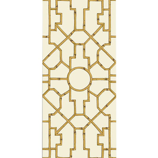 Sample, Scalamandre Baldwin Bamboo Wallpaper, Rattan & Brown on Off White For Sale