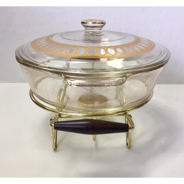 Mid-Century Modern 1960s Anchor Hocking Casserole Dish With Candle Warmer & Walnut Handle Caddy For Sale - Image 3 of 12