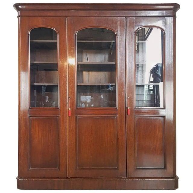 20th Century English Mahogany Wood Bookcase For Sale - Image 11 of 11