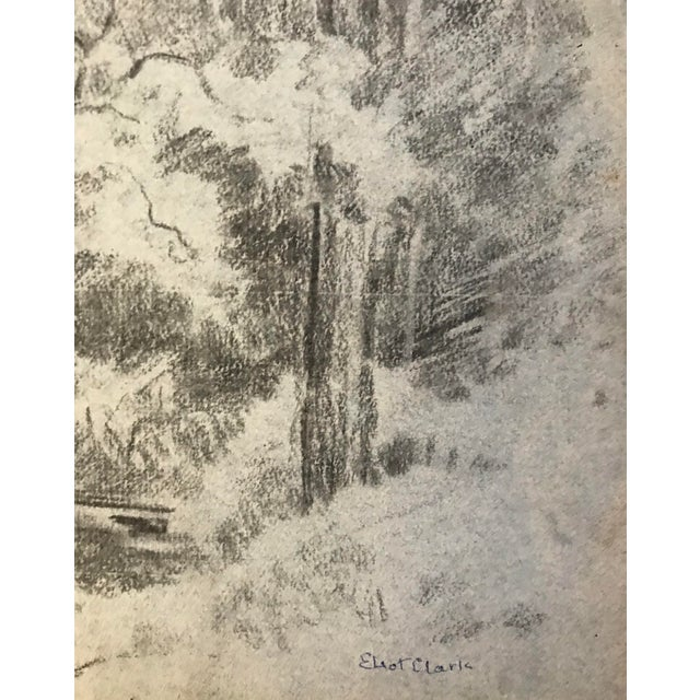 1930s Eliot Clark Wooded Landscape Drawing For Sale - Image 5 of 6