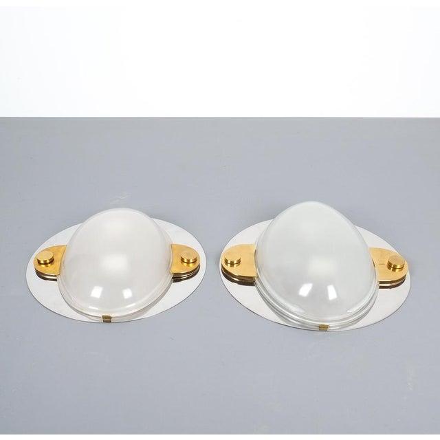 1970s Luigi Caccia Dominioni Flush Mounts or Sconces Brass Chrome Glass, Circa 1978 For Sale - Image 5 of 13