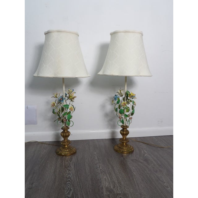 Late 20th Century Vintage Italian Tole Metal Lamps- a Pair For Sale In West Palm - Image 6 of 9