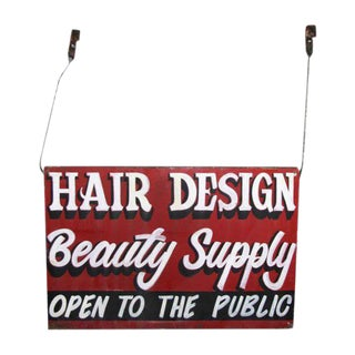 Double Sided Hanging Metal Beauty Supply Sign For Sale