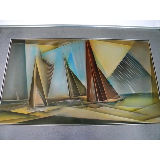 1976 aluminum etched and airbrushed framed painting of San Francisco Bay by a very well known San Francisco artist Tom...