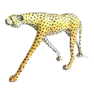 1970's Life-Size Painted Leather Cheetah Sculpture For Sale