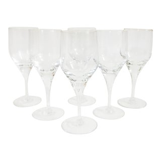 Mid Century Crystal Wine Glasses - Set of 6 For Sale