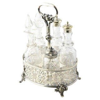 19th Century Victorian Silver-Plate & Crystal Bottle Castor Set - 6 Pieces For Sale