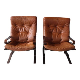 1960s Vintage Leather Siesta Chairs- A Pair For Sale