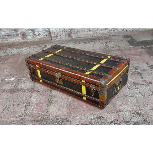 Goyard 1920s Beautiful French Vintage Leather Steamer Trunk For Sale - Image 9 of 9