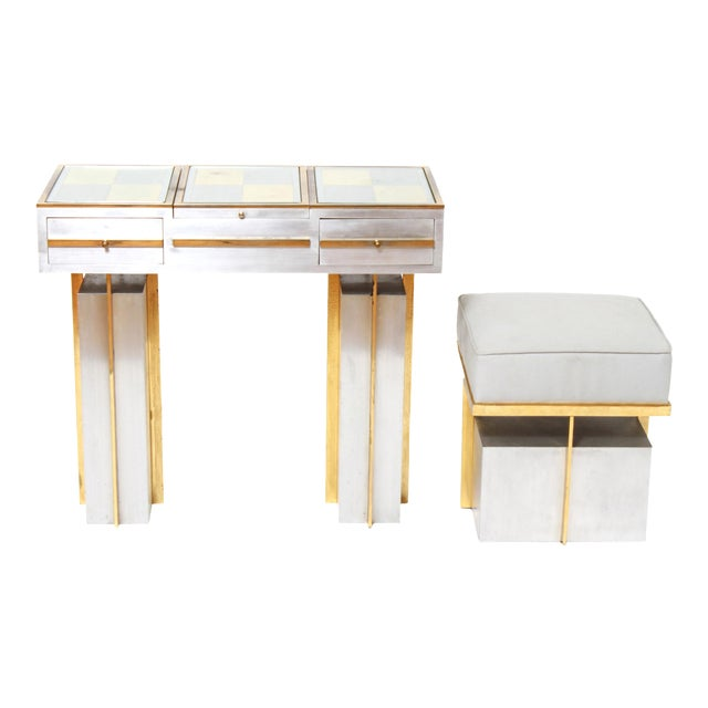 Modern Steel Vanity Table and Stool In Style Of Maison Jansen - a Pair For Sale
