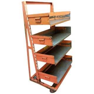 Factory Storage Bookcase or Bookshelf Cart, Orange and Steel A-Frame on Wheels