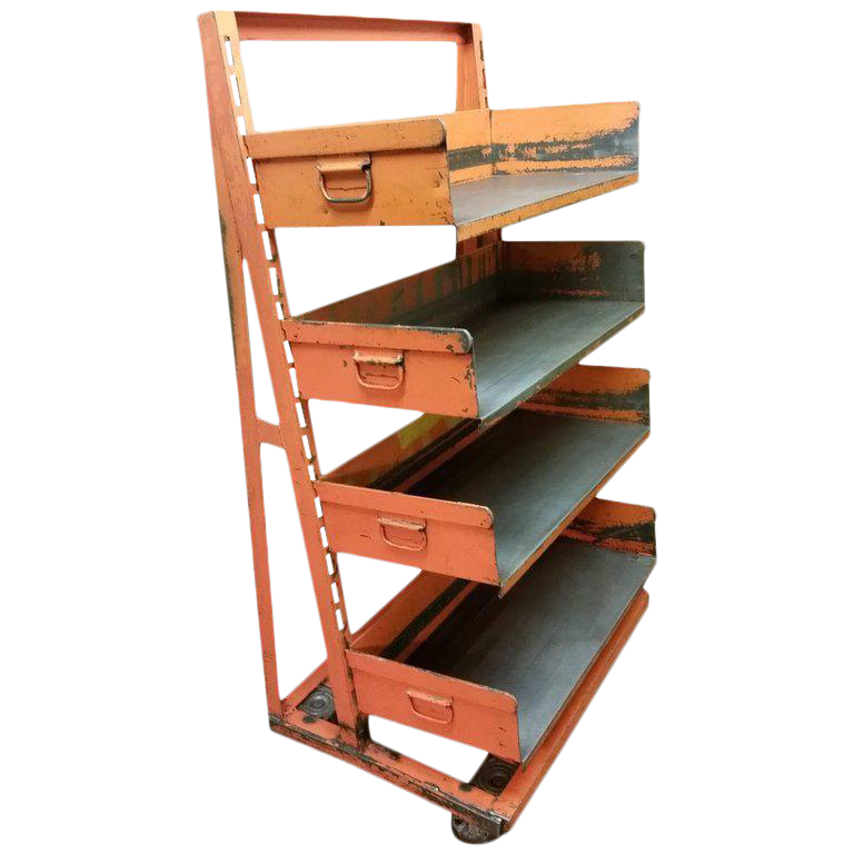 Factory Storage Bookcase Or Bookshelf Cart, Orange And Steel A Frame On  Wheels For