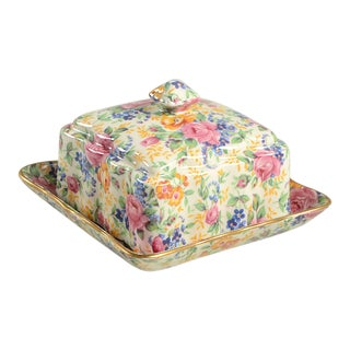 James Kent Rosalynde Chintz Square Covered Butter Dish For Sale