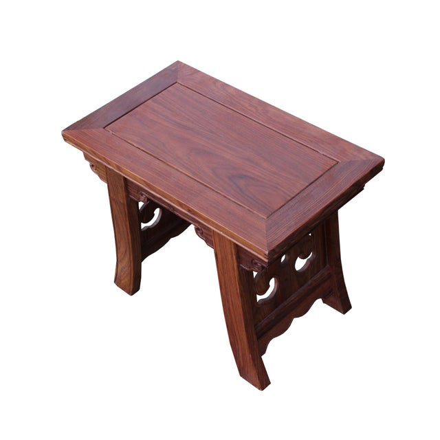 2010s Quality Handmade Ming Style Huali Rosewood Rectangular Stool For Sale - Image 5 of 6