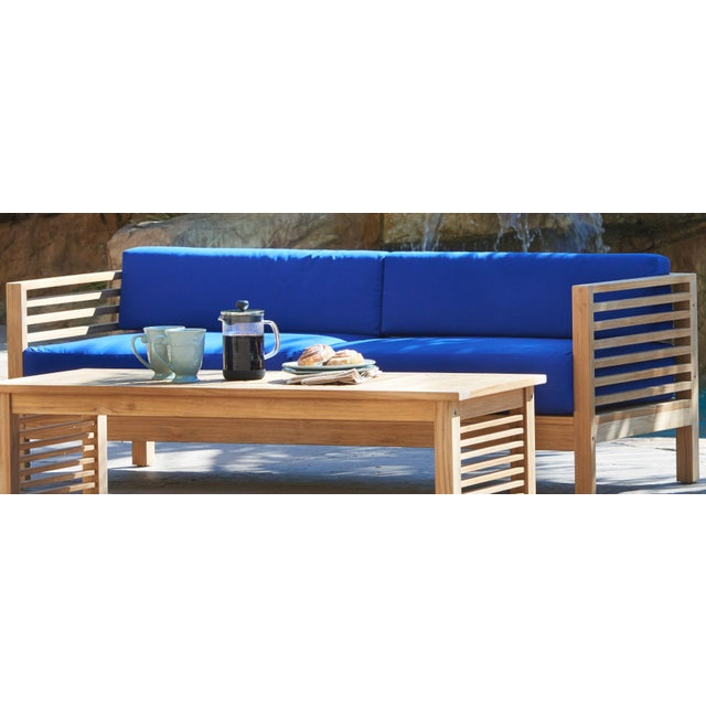 Not Yet Made - Made To Order Summer 3 Person Teak Outdoor Sofa with Sunbrella True Blue Cushions For Sale - Image 5 of 6