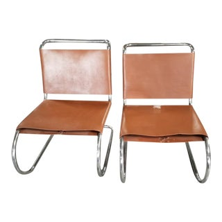 Mid Century Modern Mies Van Der Rohe Mr. Cantilever Chairs Newly Upholstered - Pair For Sale