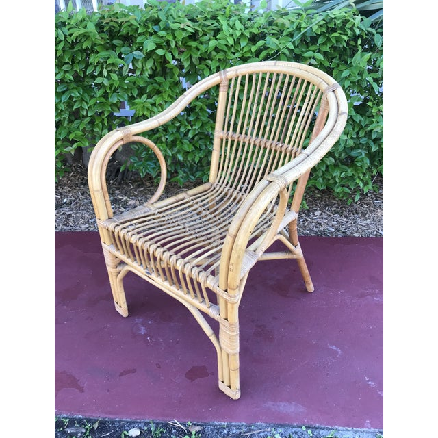 Wood 1960s Vintage Bamboo Arm Chairs- Set of 4 For Sale - Image 7 of 13