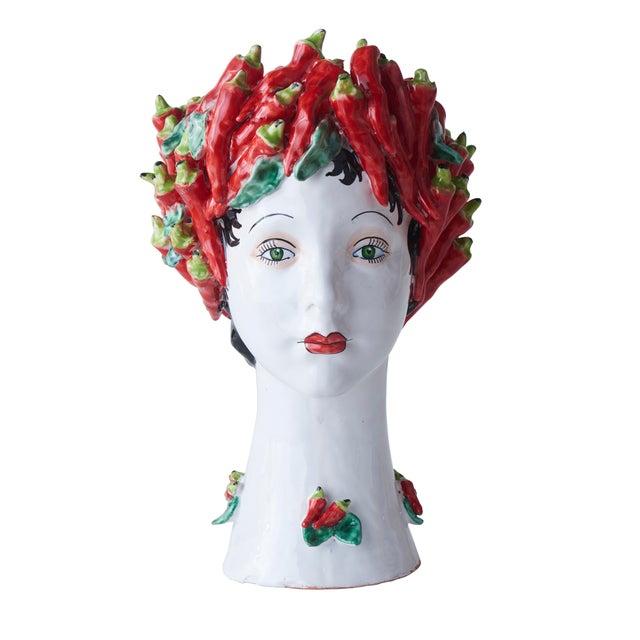 Contemporary Donatello Ceramic Head Vase, Peppers Décor For Sale - Image 3 of 3