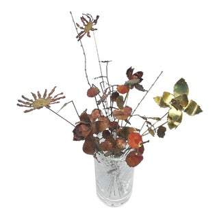 Curtis Jere Style Metal Flower Individual Stem Arrangement For Sale