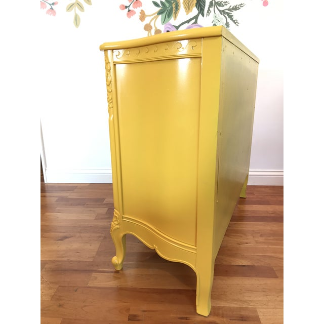 Louis XV Style Drexel Model 3211 Serpentine Front Yellow Paint Cabriole Leg Silverware Chest For Sale - Image 9 of 13