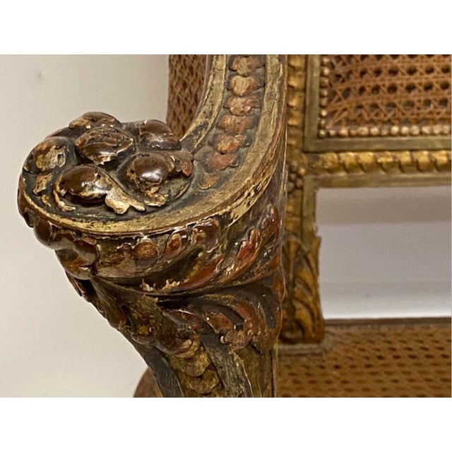 Gold 19th Century French Napoleonic Double Caned and Giltwood Settee For Sale - Image 8 of 13
