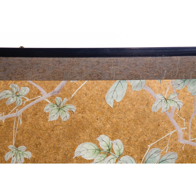 """Gold """"Sparrows With Cherry Blossom"""" 4-Panel Paint on Gold Foil Chinoiserie Hanging Screen For Sale - Image 8 of 11"""