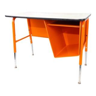 Petite Size Mid-Century Modern Orange Tanker Desk