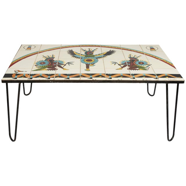 Mid-Century Modern, Tile Top Table with Hairpin Legs, by Kay Mallek For Sale