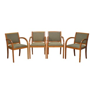 Timothy deFiebre Geiger International Set of 4 Cherry Woven Back Arm Chairs
