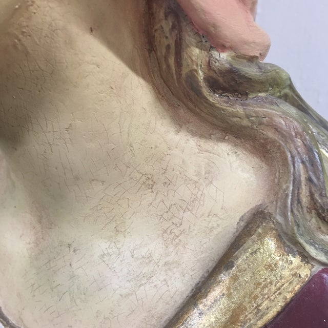 Hand Painted Paper Mache Female Bust For Sale - Image 11 of 11