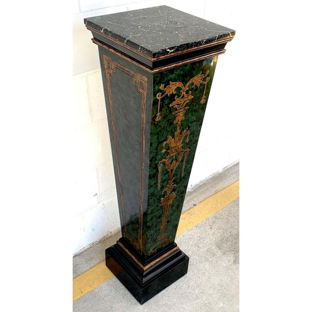 Neoclassical Faux Painted Green and Gilt Pedestals - a PAir For Sale - Image 4 of 8