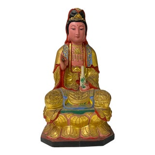 Vintage Chinese Wooden Carved Home Guardian Kwan Yin Figure For Sale