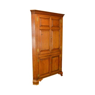 Chippendale Style 18th Century American Walnut Large Blind Door Corner Cupboard Cabinet