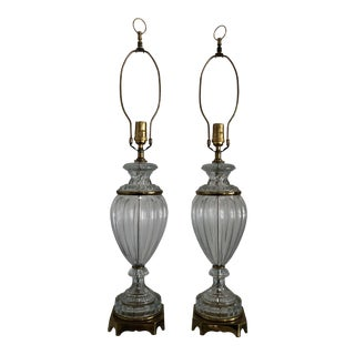 1960s Traditional Lobed Glass Lamps - a Pair For Sale