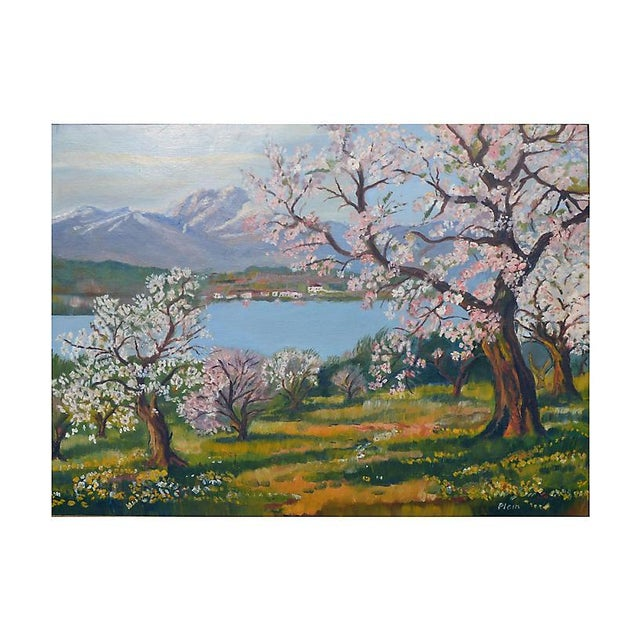 A beautiful painting of many apple trees coming into bloom by artist Plein (American, 20th century). Signed lower right....