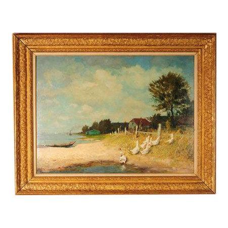 "Gari Melchers ""Belmont Lakeshore View"" Oil Painting c.1920s For Sale"