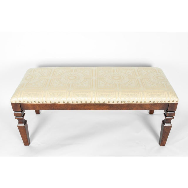 Art Deco Mahogany Wood Framed Bench For Sale - Image 3 of 13