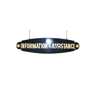 """1920s Vintage Art Deco Hand-Painted Wooden """"Information & Assistance"""" Sign For Sale"""