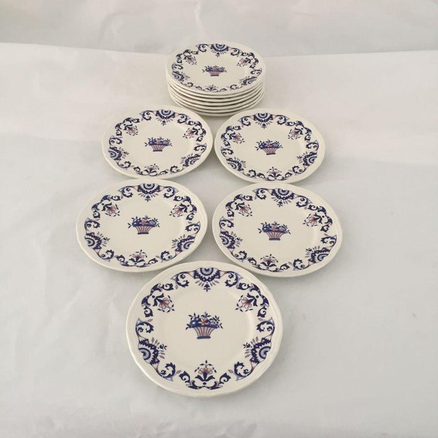Vintage Hand Painted French Bread Plates - Set of 12 For Sale - Image 5 of 5