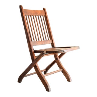 Vintage Antique Child's Wooden Deck or Theater Chair For Sale