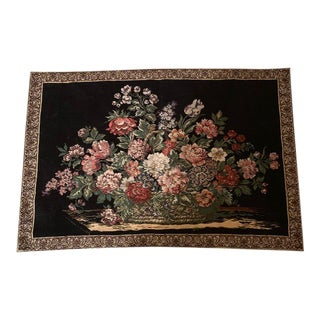 Vintage Garden of Flowers Design Woven Tapestry For Sale