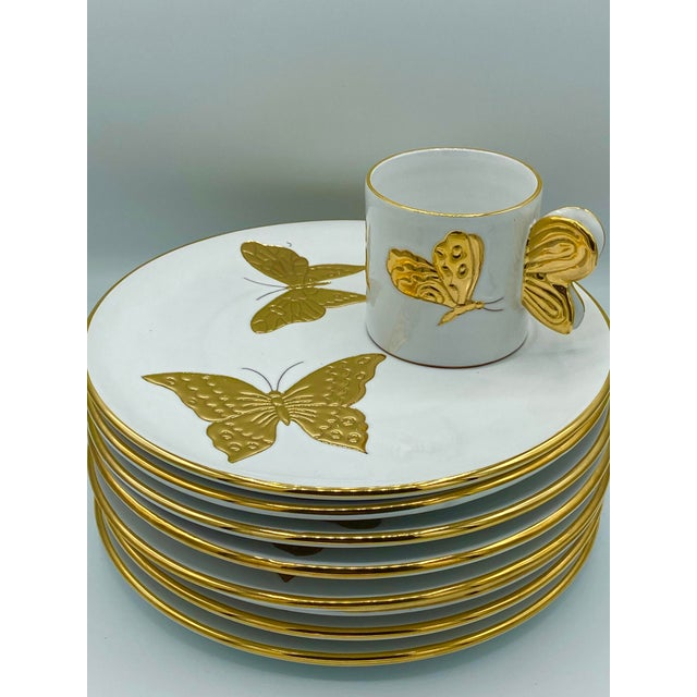Carole Stupell Vintage Hollywood Regency Carole Stupell Golden Butterfly Luncheon Plate and Cups - Set of 8 For Sale - Image 4 of 12