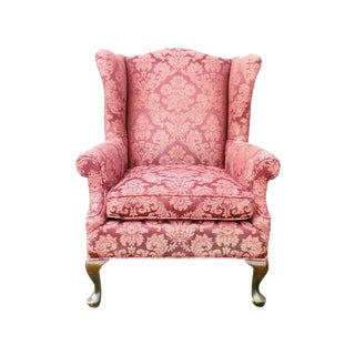 Hollywood Regency Damask Brocade Wingback Chair For Sale