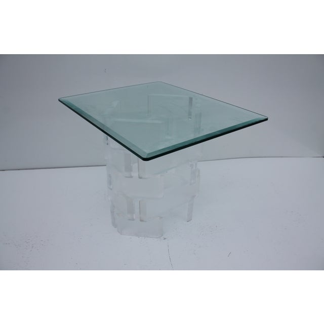 Sculptural Stacked Lucite & Glass Top Side Table - Image 6 of 10