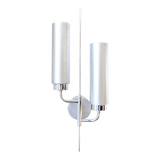 Brushed Aluminum & Chrome Wall Sconces, 1970's For Sale