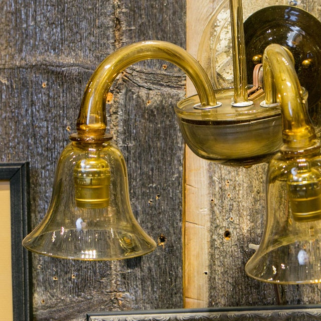 Single Amber-Color Glass Sconce For Sale - Image 4 of 7