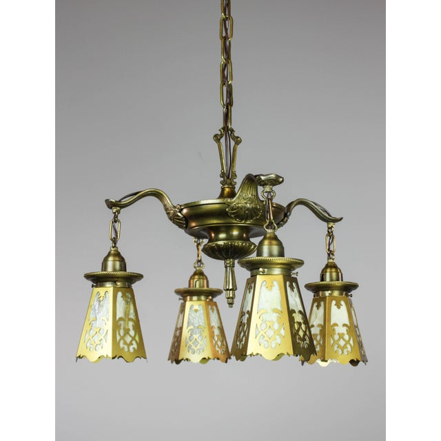 Antique Colonial Revival Pan Light Fixture (4-Light) - Image 4 of 11