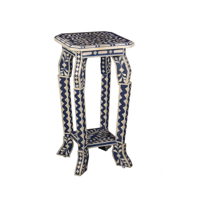 Contemporary Imperial Beauty Telephone Table in Indigo/White For Sale - Image 3 of 5